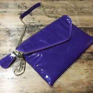 HENRI BENDEL Asymmetrical Leather Clutch Purse